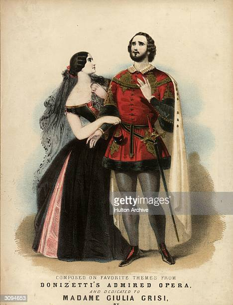 Music cover to waltzes based on themes from Donizetti's opera 'Lucrezia Borgia' showing the Italian mezzosoprano Giulia Grisi and tenor Giovanni...
