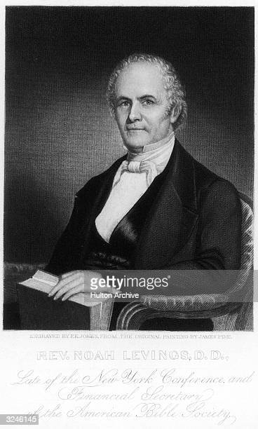 Noah Levings Methodist clergyman at New York financial secretary of American Bible Society Original Artwork Engraving by FE Jones after the painting...