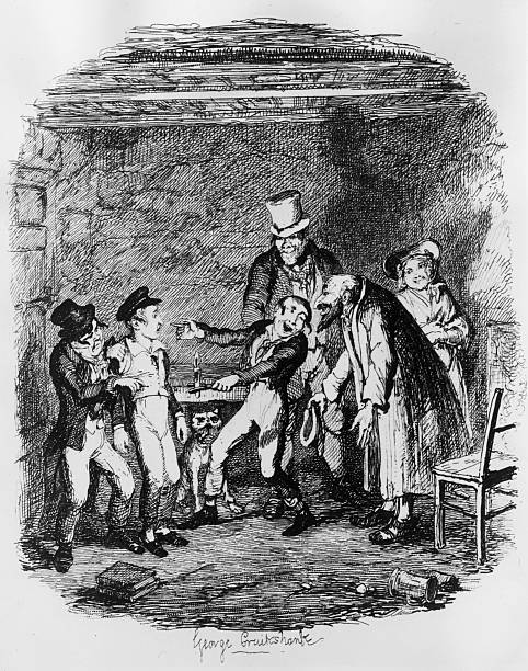 Oliver is teased by Fagin and his gang of pickpockets...