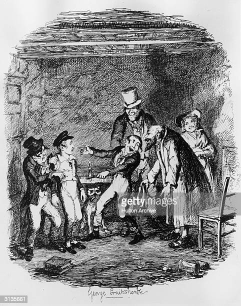 Oliver is teased by Fagin and his gang of pickpockets in a scene from Charles Dickens' 'Oliver Twist'. Original Artwork: Engraving by George...