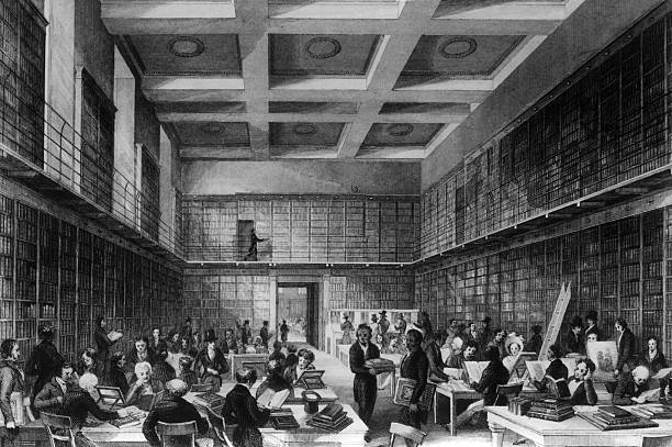 The reading room of the British Library, housed in...