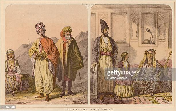 Group of Kurds and Persians. From left to right: a Kurd girl, a Kurd from the plain of Ararat, a Kurd Priest, a Persian Gentleman in Tehran with his...