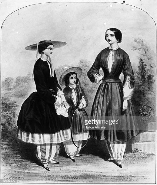 An illustration from 1851shows a woman wearing 'Bloomers' a pair of full trousers under a short skirt The trousers got their name from Amelia Jenks...