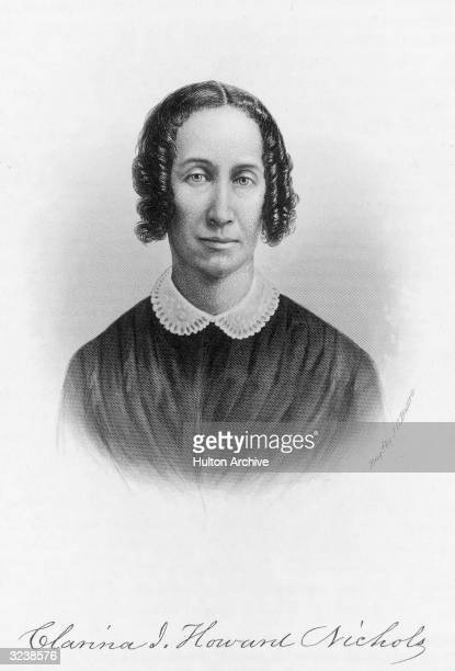 Clarina Irene Howard Nichols American newspaper editor early settler in Kansas and women's rights leader Original Artwork Engraving by J C Buttre