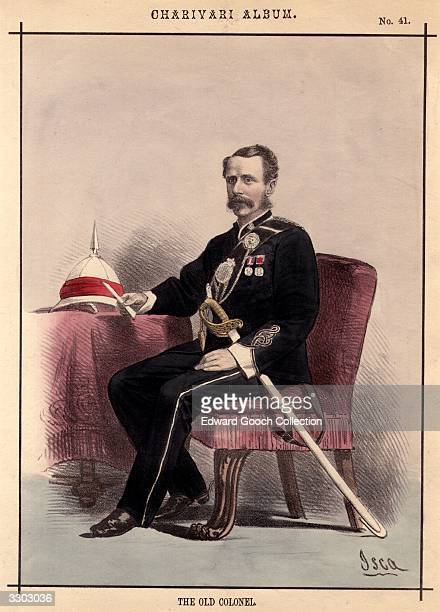 Lieutenant Colonel Walton of the Calcutta volunteers in a black unifrom with decorations