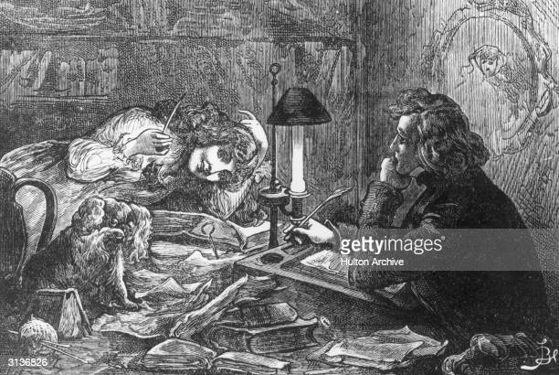 'My child-wife' from 'Charles Dickens' by Thomas Archer. The 'author' sits at his desk amid a clutter of books and watches a young girl with her King...