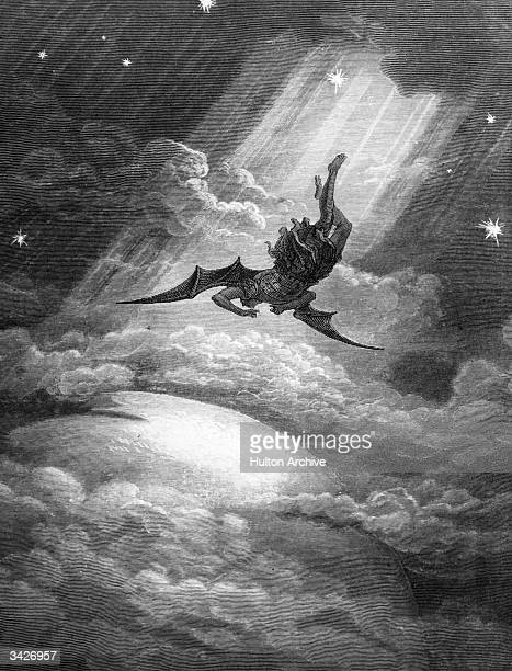 Satan the Fallen Angel is flung from Heaven and nears the confines of the Earth on his way to Hell An engraving by Gustave Dore from Milton's...