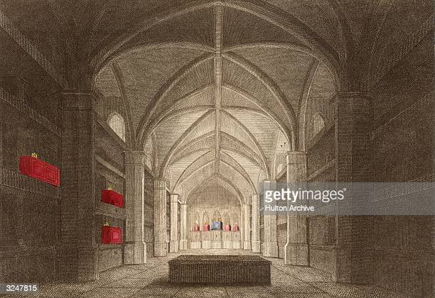 The perpendicular gothic-style Royal Mausoleum in the vaults of St George's Chapel at Windsor Castle in Berkshire.