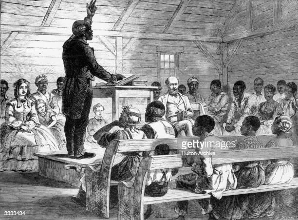 A black preacher addressing his mixed congregation on a plantation in South Carolina Original Artwork Drawing M Jackson