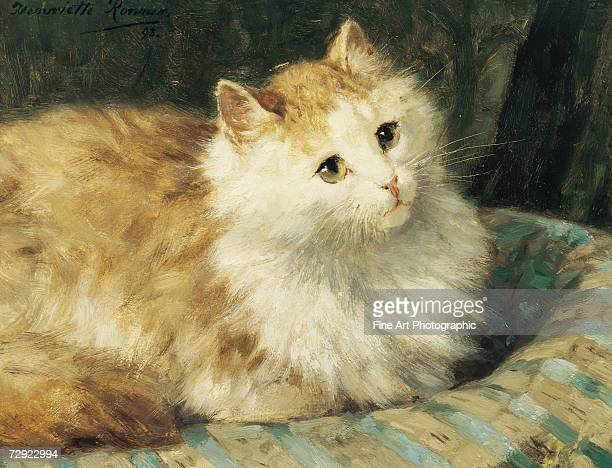 A longhaired cat resting on a cushion Artist Henriette RonnerKnip