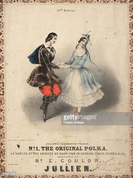 A moustachioed young man and a girl in long braids dance the 'original polka' on page one of 'Jullien's Celebrated Polkas' dedicated to Mr E Coulon