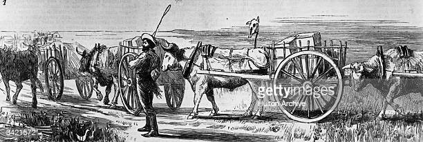 A train of Red River carts with the Marquis of Lorne in the north west of Canada Original Publication The Graphic