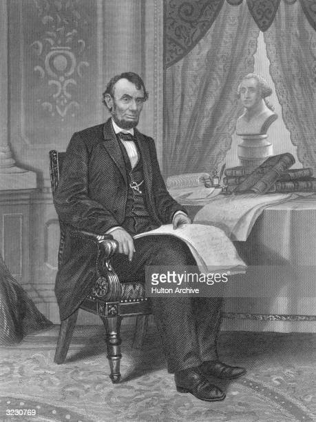 Abraham Lincoln sixteenth president of the US who issued the Emancipation Proclamation decreeing an end to slavery Engraved by Johnson Wilson Co...