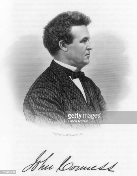 American politician John Conness a US senator from California Original Artwork Engraved by George E Perine