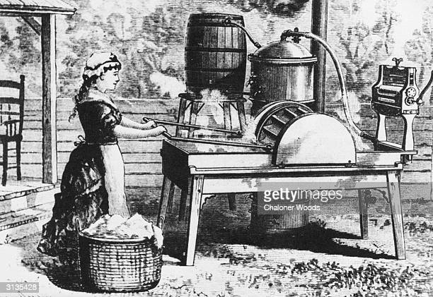 An early laboursaving machine for clothes washing comprising a water barrel water boiler agitator and mangle