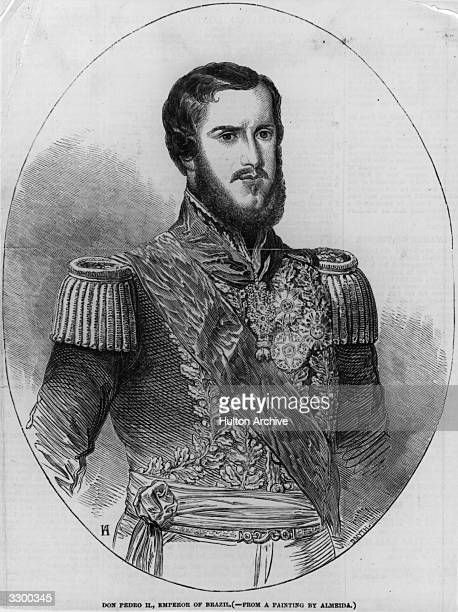 Engraving of the Emperor of Brazil Pedro II from a painting by Almeida