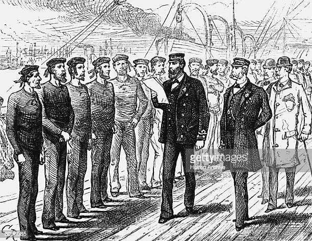 The crew of a merchant ship during an inspection parade