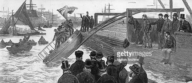 Trial of a new lifesaving vessel at Blackwall on the River Thames Original Publication The Graphic