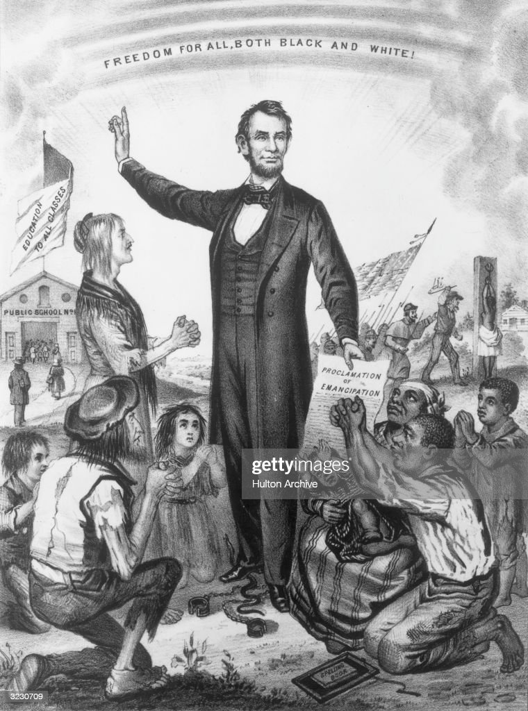 American president Abraham Lincoln (1809-1865) issues the Emancipation Proclamation which decreed an end to slavery. Engraved by J L Magee