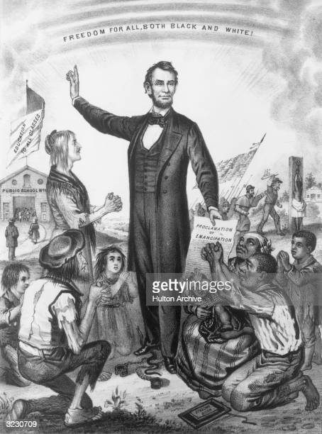 American president Abraham Lincoln issues the Emancipation Proclamation which decreed an end to slavery Engraved by J L Magee