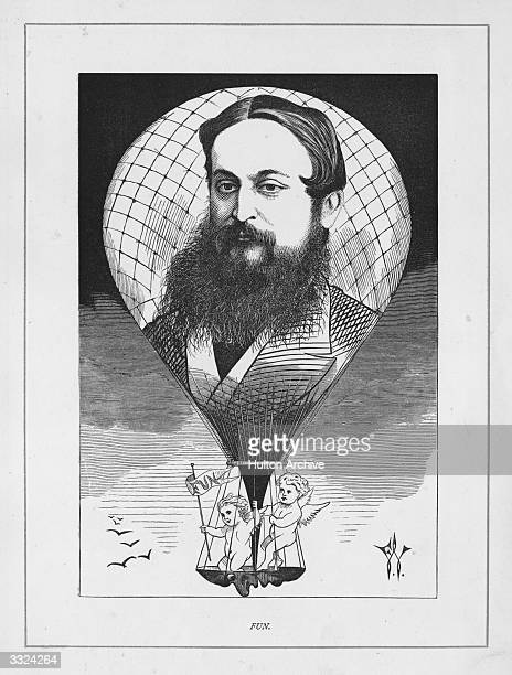 Author Tom Hood , publisher of poems and humorous novels, portrayed on a hot air balloon piloted by cherubs. In 1865 he became editor of 'Fun'.