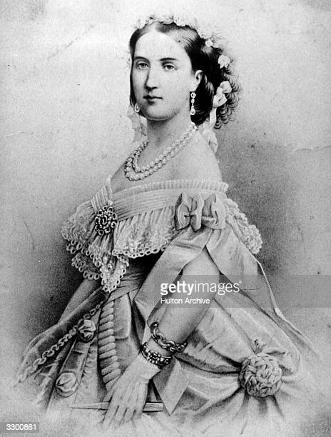 Empress Charlotte of Mexico the consort of Maximilian emperor of Mexico the younger brother of Francis Joseph I Original Artwork Engraved after Franz...