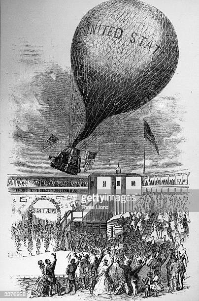 Famous aeronaut Professor Lowe pilots the bride and groom Mary West Jenkins and Professor John F Boynton in his balloon from Lowe's Amphitheatre in...