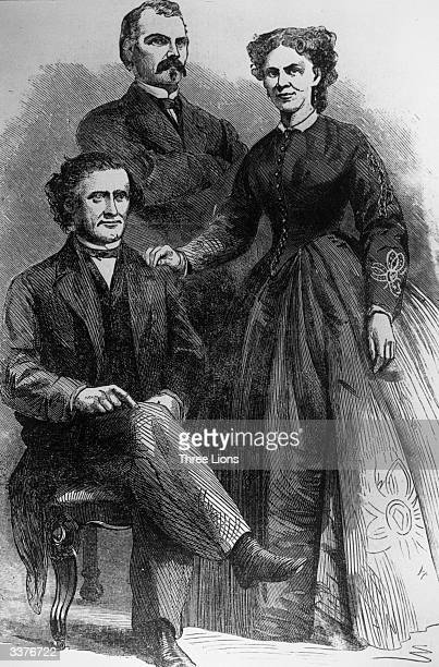 The participants of the 'balloon wedding' at Central Park New York from left to right Professor John Boynton aeronaut Professor Lowe and Mary West...