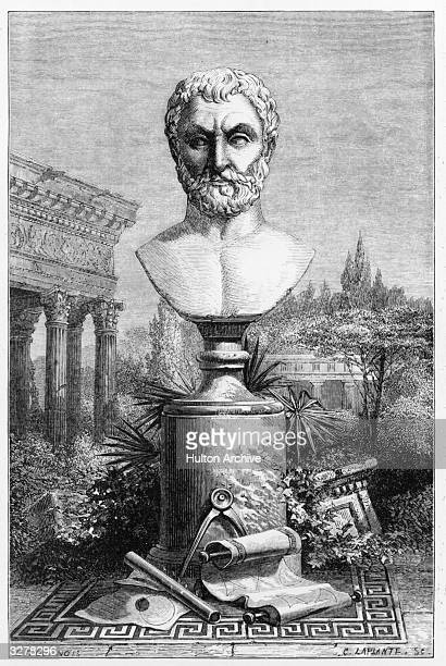 Philosopher and scientist Thales of Miletus one of the seven wise men of Greece Engraved by C Laplante after an original by E Tournois