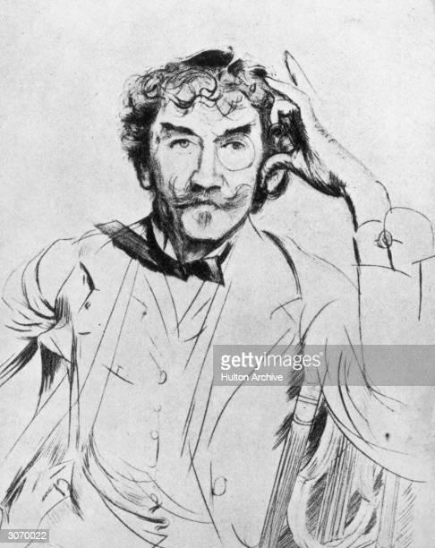 American painter James Abbott McNeill Whistler Original Publication From an etching by Paul Hellen