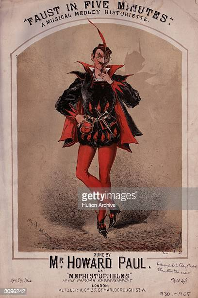 Cover for a musical score 'Faust in Five Minutes' selling for 4 shillings shows author and entertainer Howard Paul dressed in a black and red 17th...