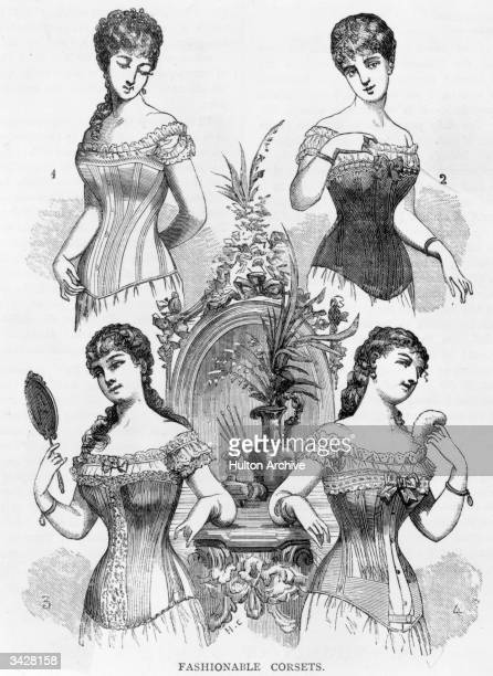 Four Victorian ladies modelling the whalebone corsets which were fashionable in the 19th century.