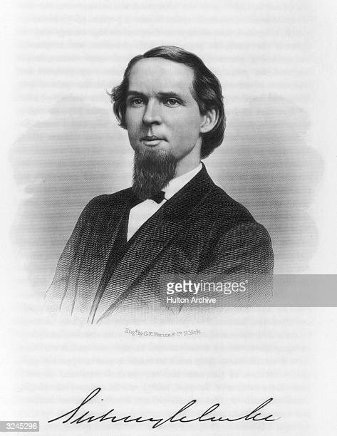 Portrait of American soldier publisher and politician Sidney Clarke Member of the US House of Representatives from Kansas Engraved by GE Perine