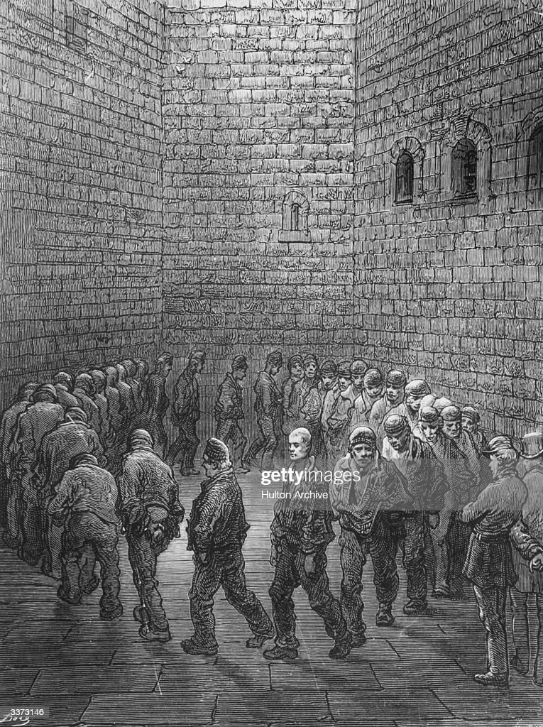 Prisoners walking round the exercise-yard at Newgate prison. An engraving by Gustave Dore, from Dore's 'London' - pub. 1869-1871
