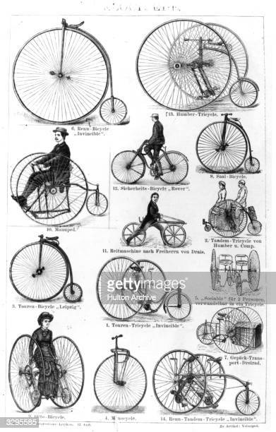 Various bicycles tricycles unicycles and penny farthings on the market