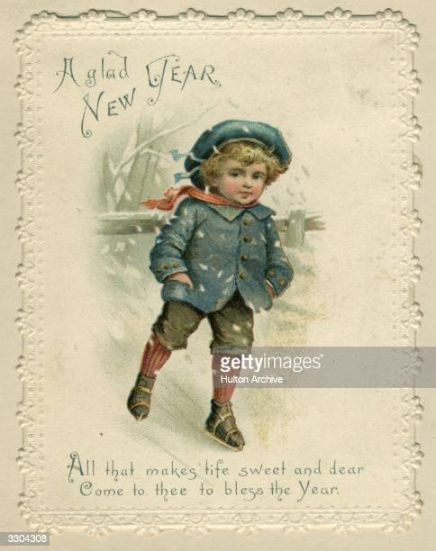 A young boy skating over ice on this sentimental Victorian Christmas card