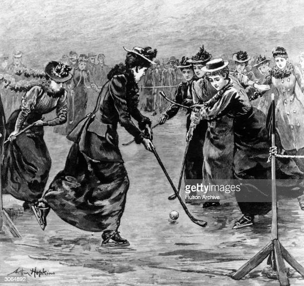 Ladies' ice hockey match on the frozen lake in Wimbledon Park, London. Original Artwork: Engraving by Arthur Hopkins.