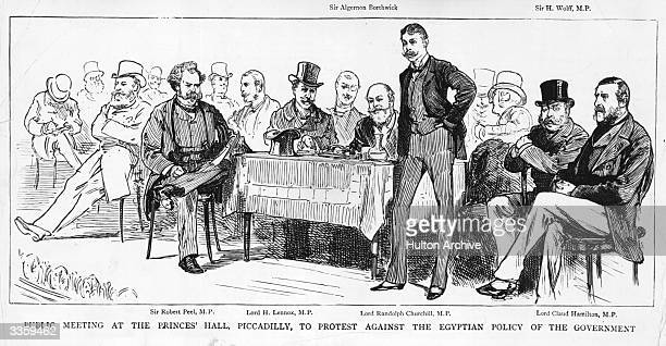 A public meeting at the Prince's Hall Piccadilly to protest against the govrenment's Egyptian policy The key figures at the meeting are from left to...