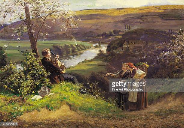 A wandering minstrel serenades two passing peasant girls on the lute Artist Albrecht Furchtegott Schultheiss