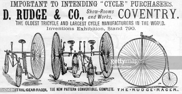 An advertisement for D Rudge and Co of Coventry the oldest and largest cycle manufacturers in the world showing tricycles and a penny farthing