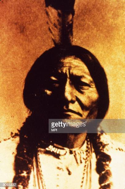 Chief Tatanka Yotaka or Sitting Bull who led the Sioux in their resistance against the settlers before touring America as part of Buffalo Bill's Wild...