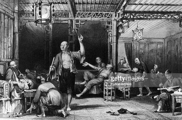 Customers at a Chinese opium den. Original Artwork: Engraved by G Paterson after a drawing by T Allen.