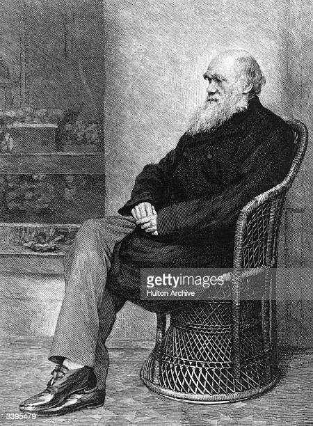 English naturalist Charles Darwin sitting in a wicker chair.