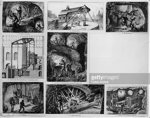Various scenes of mining from the nineteenth century 'Conversation Lexicon' by Brockhaus Vol 2 pub Leipzig 1887