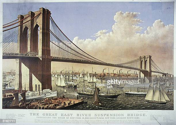 Crowds watching as ships sail under the newly completed Brooklyn Bridge in New York. Currier & Ives