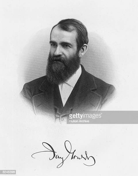 Portrait of American financier Jay Gould . Practiced stock market manipulation of railroad securities from c.1860, eventually controlled the Erie RR,...