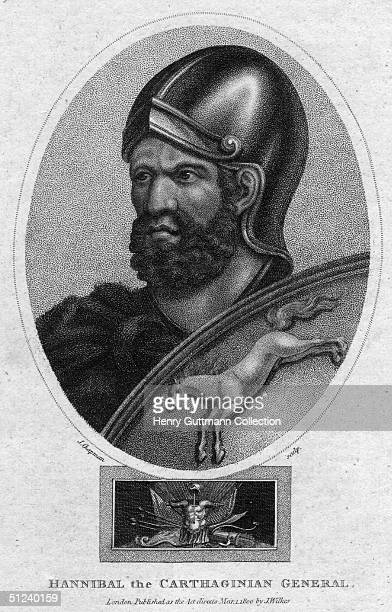 Circa 200 BC Carthaginian General Hannibal who inflicted defeats on Rome by crossing the Alps with war elephants during the 2nd Punic War between...
