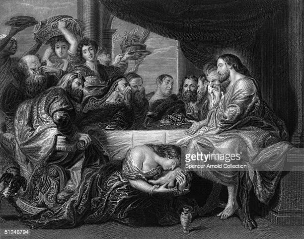 Circa 25 AD Mary Magdalen anoints the feet of Jesus Christ watched by the apostles Original Artwork Engraving by W Greatbach after the painting by...