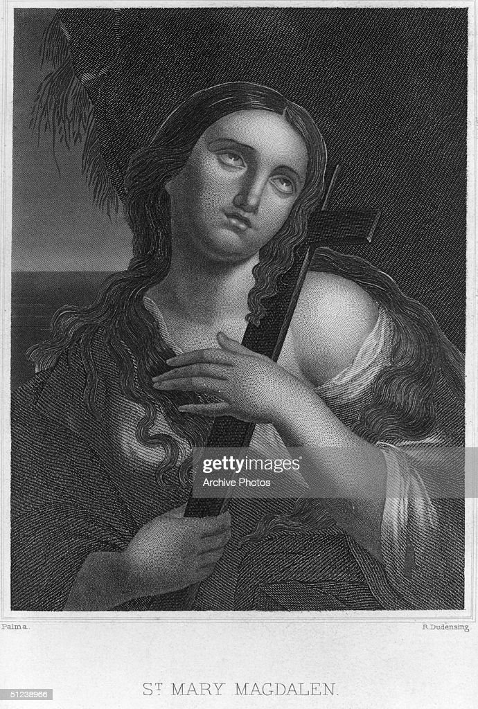 Circa 25 AD, Saint Mary Magdelene (1st century A.D.), a Galilean woman rescued from persecution by Jesus Christ, witness to Jesus' death and burial. Original Artwork: Engraved by R Dudensing After a painting by Palma