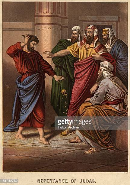 Circa 33 AD, Judas repents his act of betraying Christ by throwing down the thirty pieces of silver he received in payment beore the chief priests...